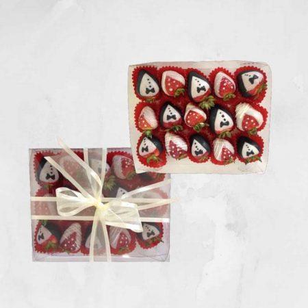 Caja con 15 Fresas con Chocolate Novios
