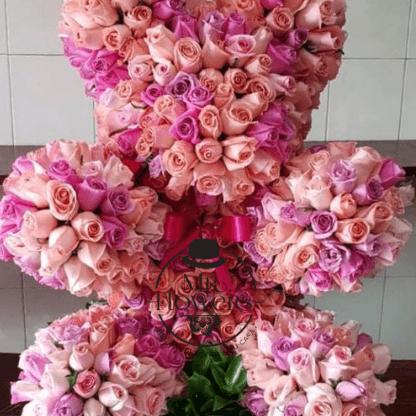 Oso con 550 Rosas Rosa